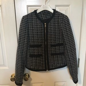 Black &white tweed jacket with gold zipper detail